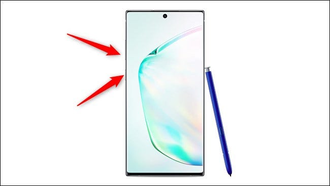 Samsung Galaxy Note 10 und 10 Plus Drücken Sie die Ein- / Aus-Taste und die Lautstärketaste