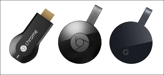 Chromecast der ersten Generation, Chromecast der zweiten Generation und Chromecast Ultra