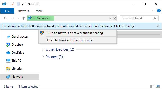 Abilita la condivisione di file in rete su Windows 10 da Esplora file