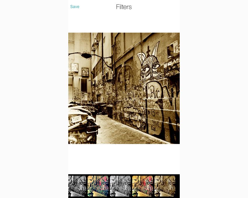 Application affichant une image avec un filtre de couleur appliqué