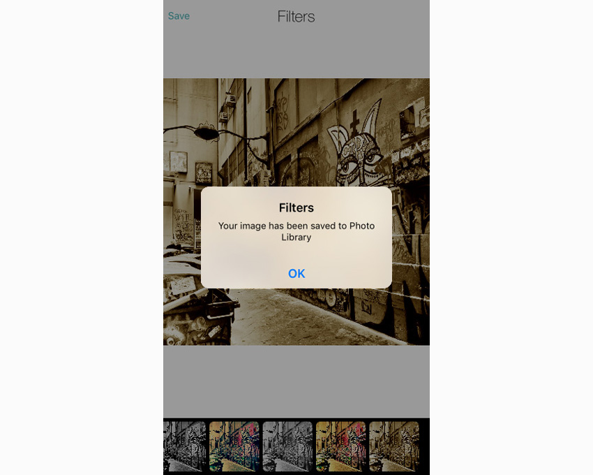 Application affichant un message indiquant que l'image a été enregistrée dans la photothèque