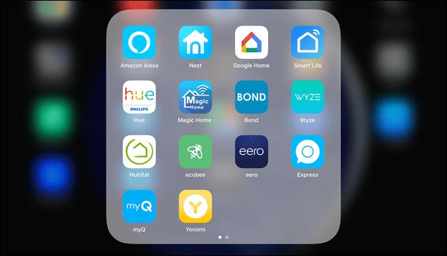 Menú de la aplicación IOS, que muestra Alexa, Google, Philips, Smart Life, Magic Home, etc.