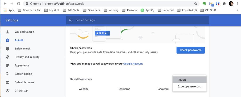 Chrome sollte jetzt eine Importauswahl unter Gespeicherte Passwörter haben