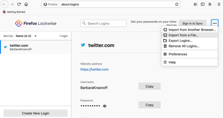 Firefox hat keine Bedenken, eine CSV-Kennwortdatei zu importieren