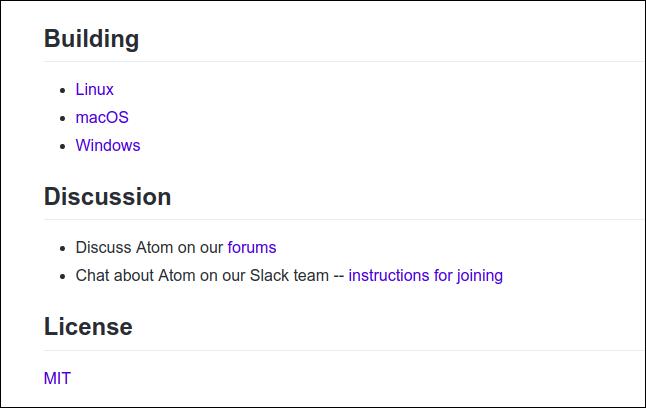 Section du fichier readme.md pour l'éditeur atom sur github.