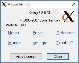 Xming über das Fenster