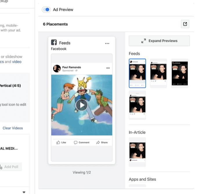 aperçus d'annonces pour plusieurs emplacements d'annonces Facebook et Instagram