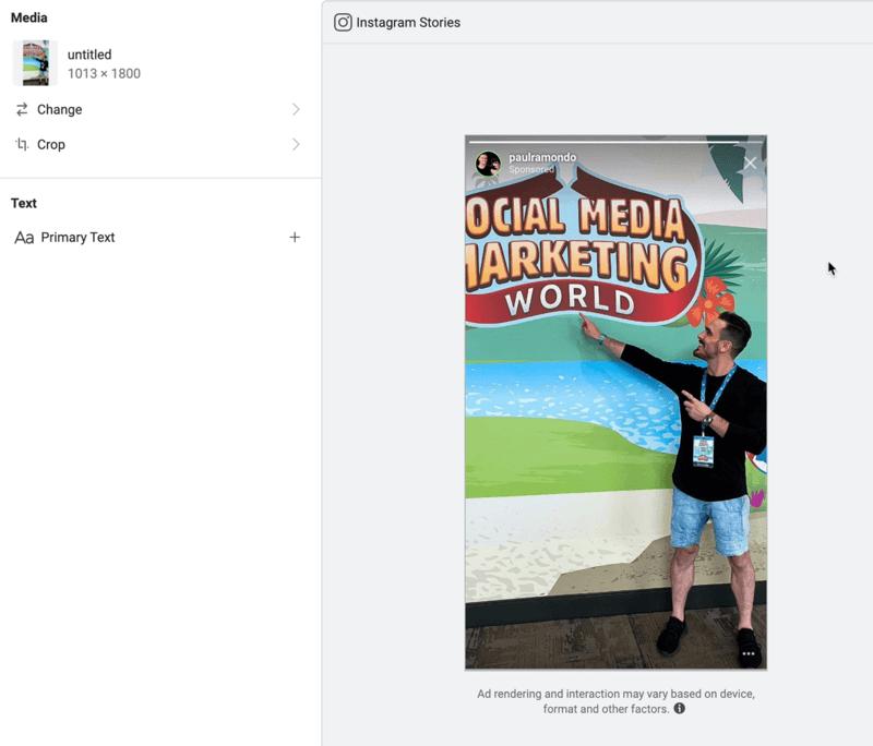 modifier le placement des histoires Instagram dans Facebook Ads Manager