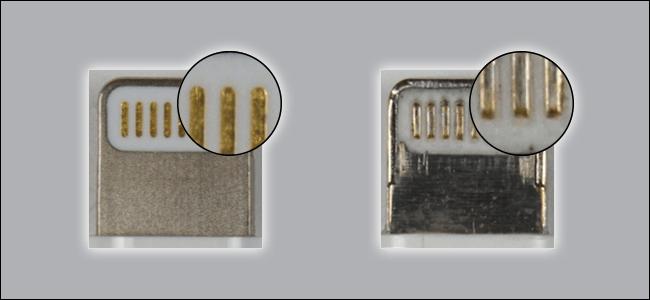 Zwei Blitzkabel.  Einer ist eindeutig mit besseren Materialien als der andere hergestellt.  Wer unhöflich aussieht, ist nicht MFi-zertifiziert.