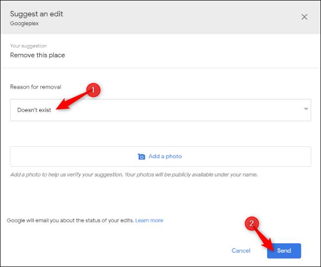 Melden Sie, dass in Google Maps kein Unternehmen vorhanden ist