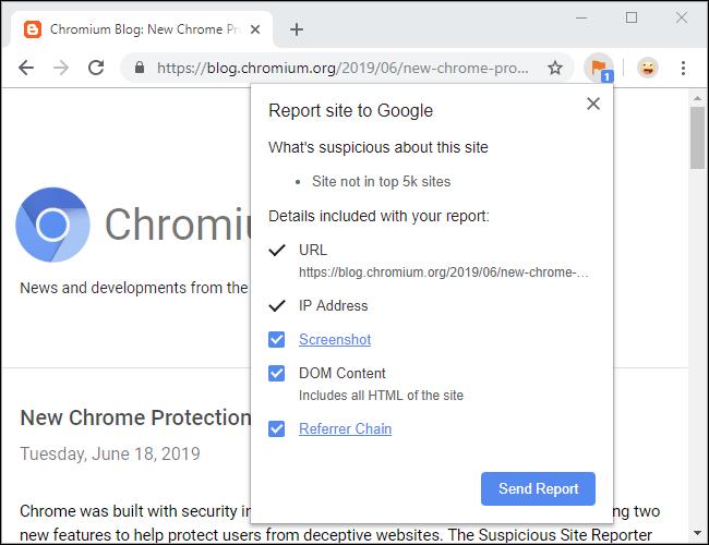 Erweiterung Chrome Suspicious Site Reporter
