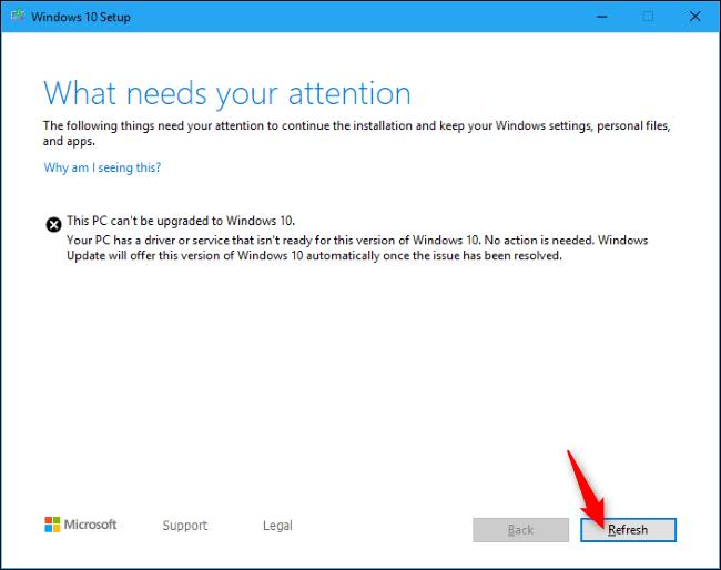 Fortsetzen der Installation von Windows 10 mit der Schaltfläche Aktualisieren