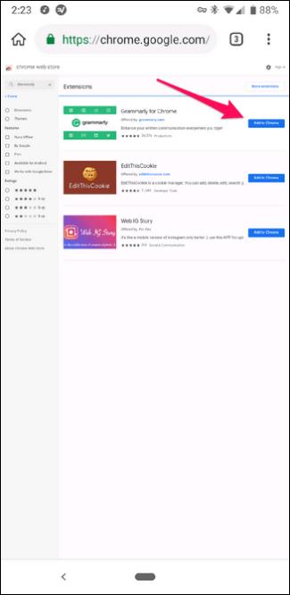 Installieren Sie Chrome-Erweiterungen im Kiwi-Browser