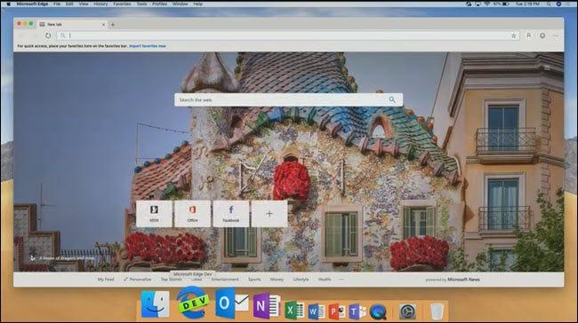 Microsoft Edge sur MacOS