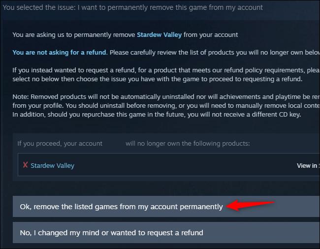 Confirmation de suppression d'un jeu Steam