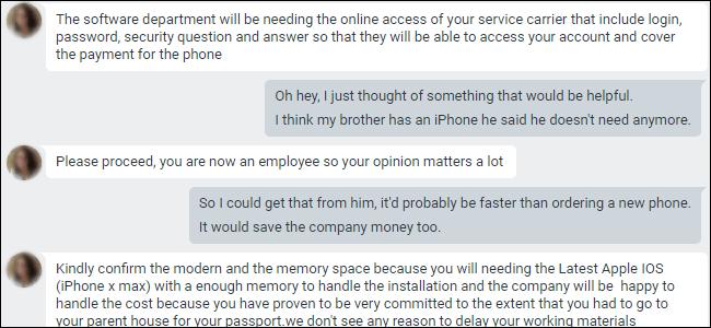 Chat Google Hangouts demandant les informations de connexion pour le portail de l'opérateur de téléphonie mobile.