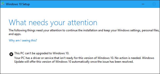 Was braucht Ihre Aufmerksamkeit Setup-Fehler unter Windows 10