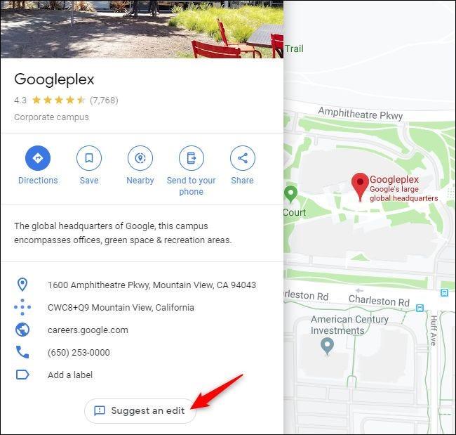 Schlagen Sie eine Schaltfläche Bearbeiten in Google Maps vor