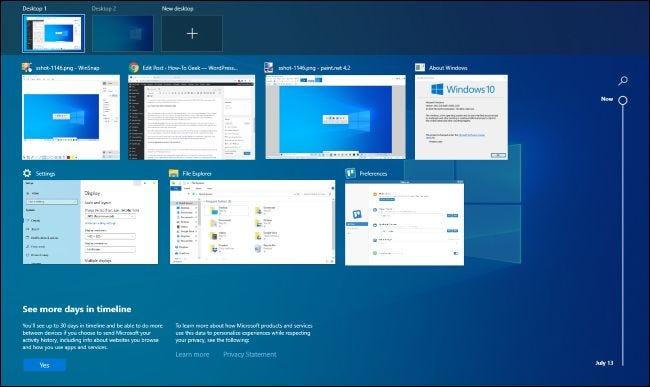 Windows 10-Taskanzeigeoberfläche.