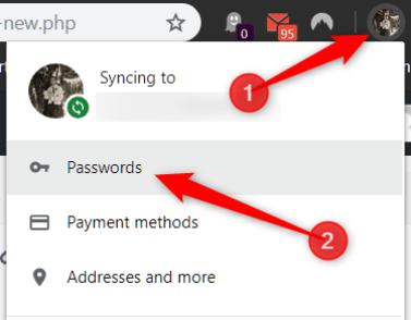 Cliquez sur votre photo de profil, puis sur Mots de passe