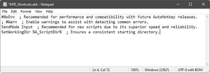 Raccourcis spécifiques à l'application avec les entrées par défaut Ahk
