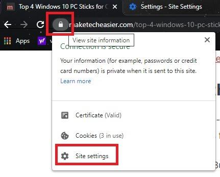 Comment copier du texte à partir d'un site bloqué dans les paramètres du site Chrome
