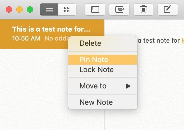 Prise en main Notes Mac Pin Note