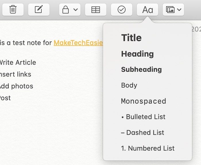 Mise en forme Notes de mise en forme Mac
