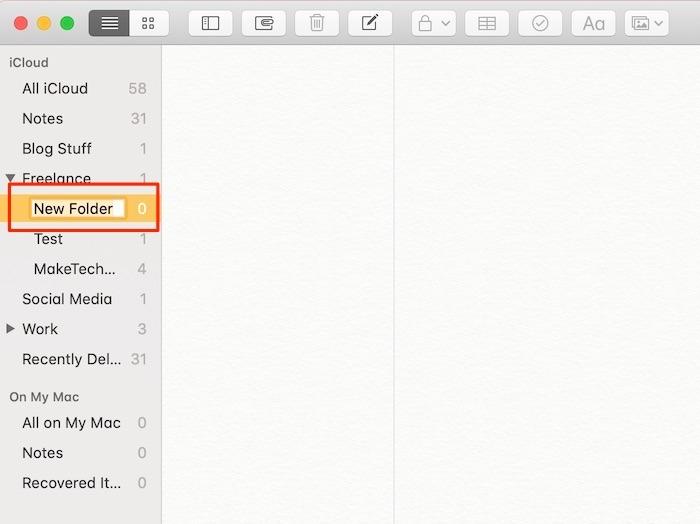 Commencer Notes Nouveau dossier Mac