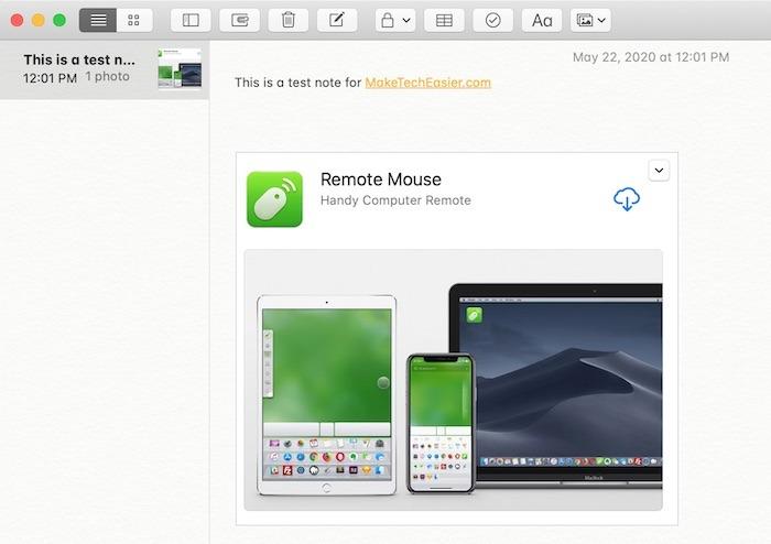 Prise en main Notes Mac Faites glisser des photos
