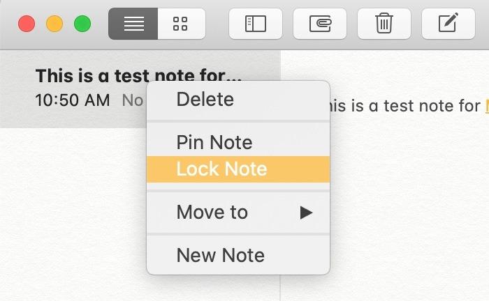 Prise en main Notes Mac Lock Notes