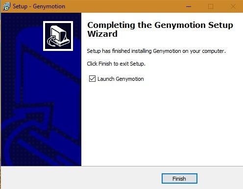 Fin de l'installation de Genymotion Win10 1
