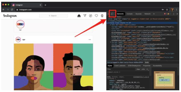 Comment publier sur Instagram à partir du PC étape 4 : bouton mobile dans la fenêtre du développeur Chrome