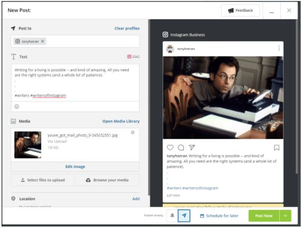 Comment publier sur Instagram depuis un PC à l'aide de Moyens I/O étape 6: bouton Publier maintenant dans Moyens I/O (et également Programmer pour plus tard)