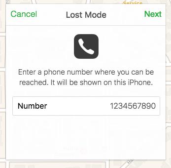 trouver-mon-iphone-set-mode-perdu-numéro-de-téléphone