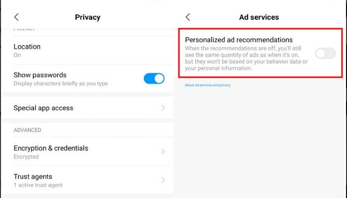 Annonces personnalisées Xiaomi