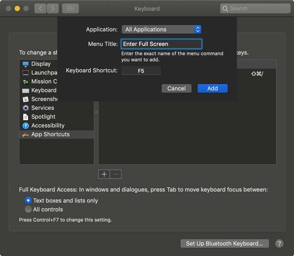 Remapper les touches Fn Mac Entrer les détails du raccourci