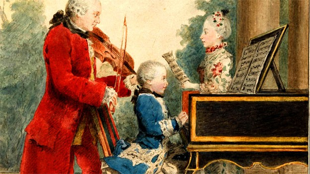 i Mozart, immagine del padre Leopol, di Nannerl e di Wolfgang