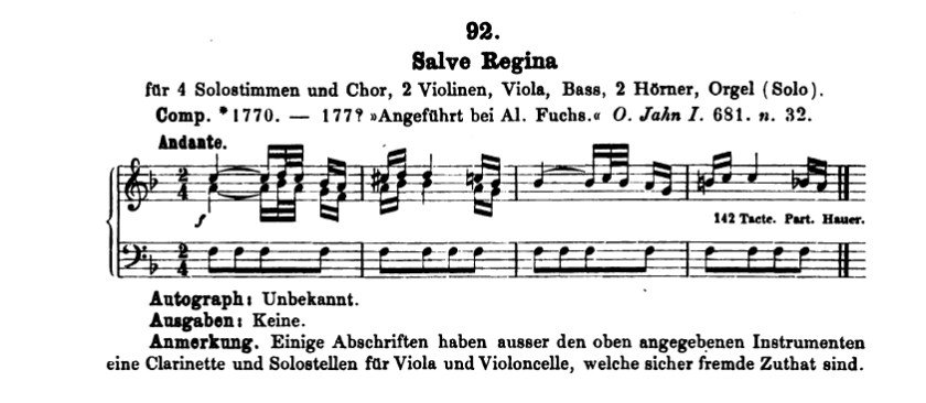 Catalogo di Ludwig von Köchel, K.92