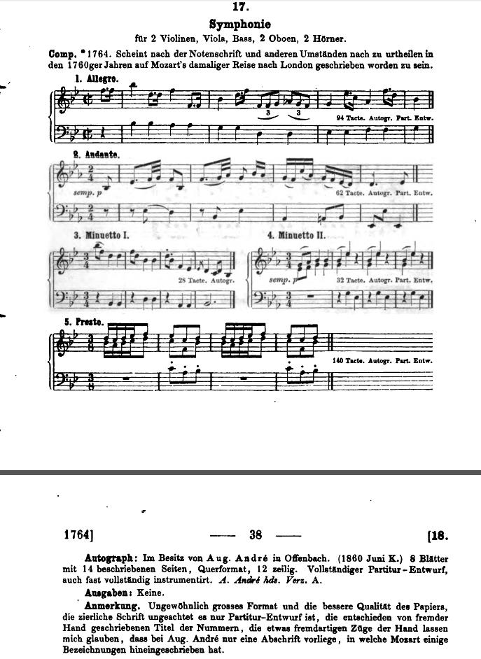 Köchel Sinfonia K 17 n,2, in sib, attribuita a Mozart, ma spuria