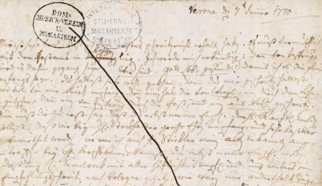 Mozart lettera del 7 gennaio 1770