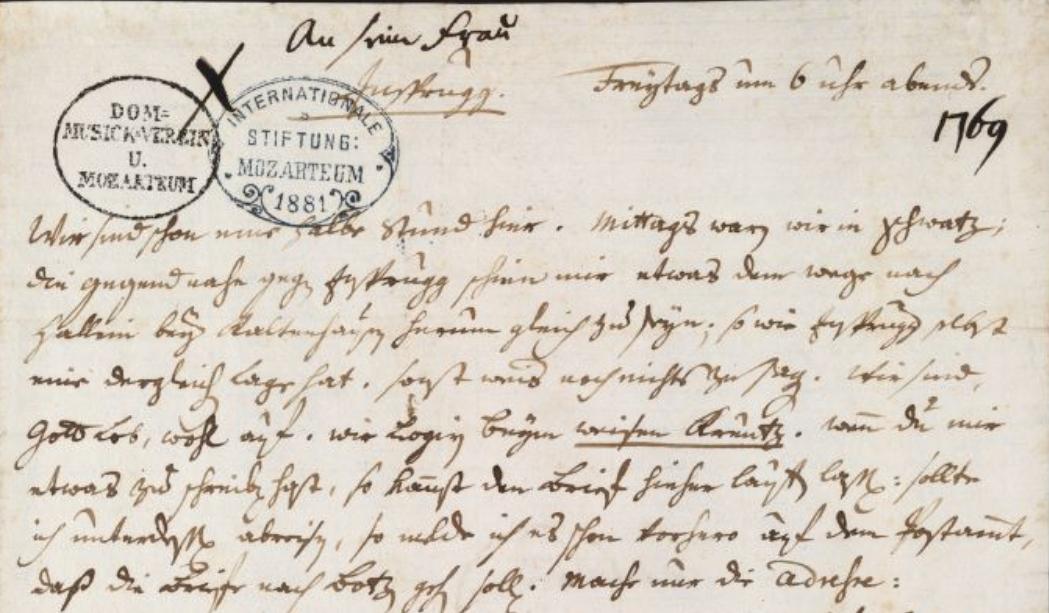 Mozart, lettera del 15 dicembre 1769