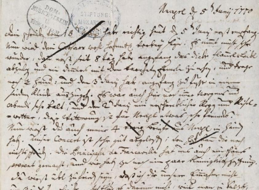 Leopold, lettera del 5 giugno 1770
