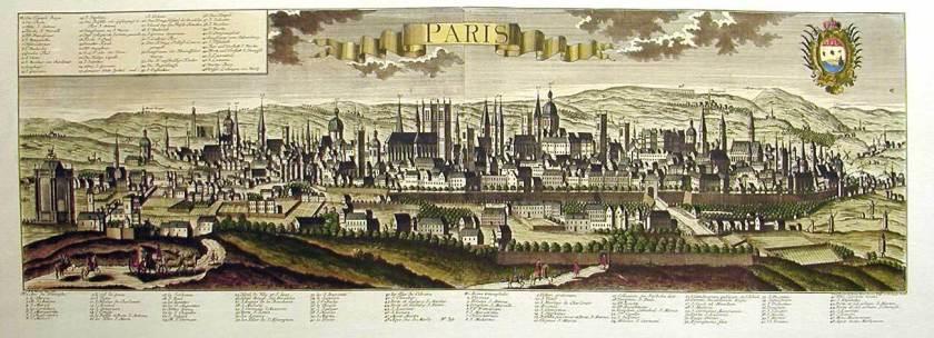 Parigi, stampa del 1700