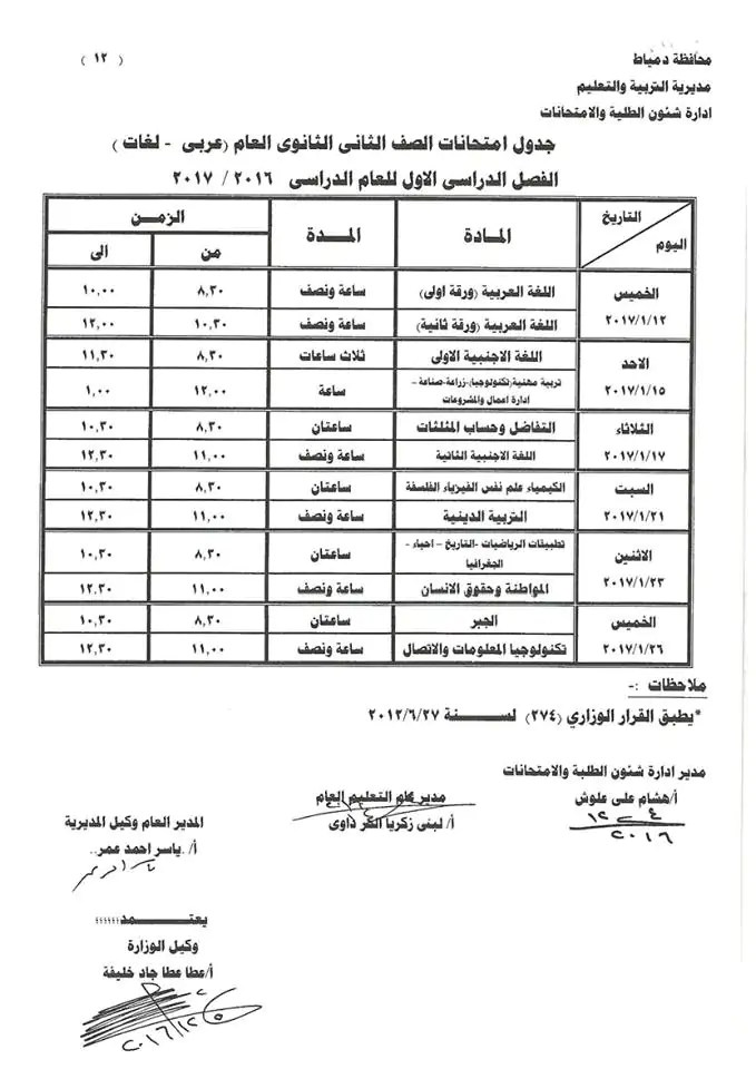 جميع جداول امتحانات 2017 محافظة دمياط إبتدائي وإعدادي وثانوي ترم أول