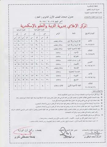 جدول امتحانات الصف الأول الثانوي الترم الثاني