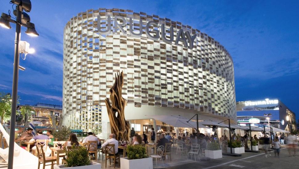 padiglione legno uruguay expo2015 - esterno facciata sera