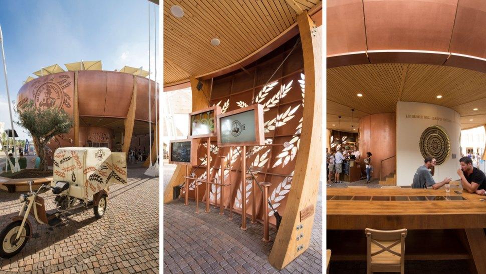 Bottega Moretti, il padiglione in legno xlam di Birra Moretti a Expo 2015 - dettagli