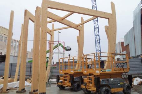 Cantiere Padiglione in legno birra Moretti Expo 2015 - Mozzone Building System 05