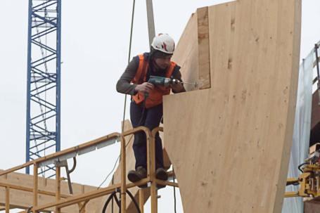 Cantiere Padiglione in legno birra Moretti Expo 2015 - Mozzone Building System 06